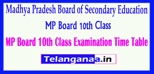 MP Board 10th Class Madhya Pradesh Board of Secondary Education SSC Examination Time Table 2018