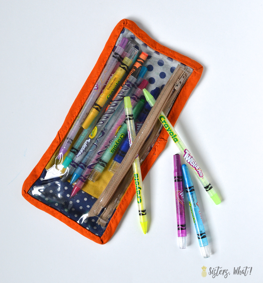 zipper bag for storing crayons and other kids art supplies with a tutorial to make one
