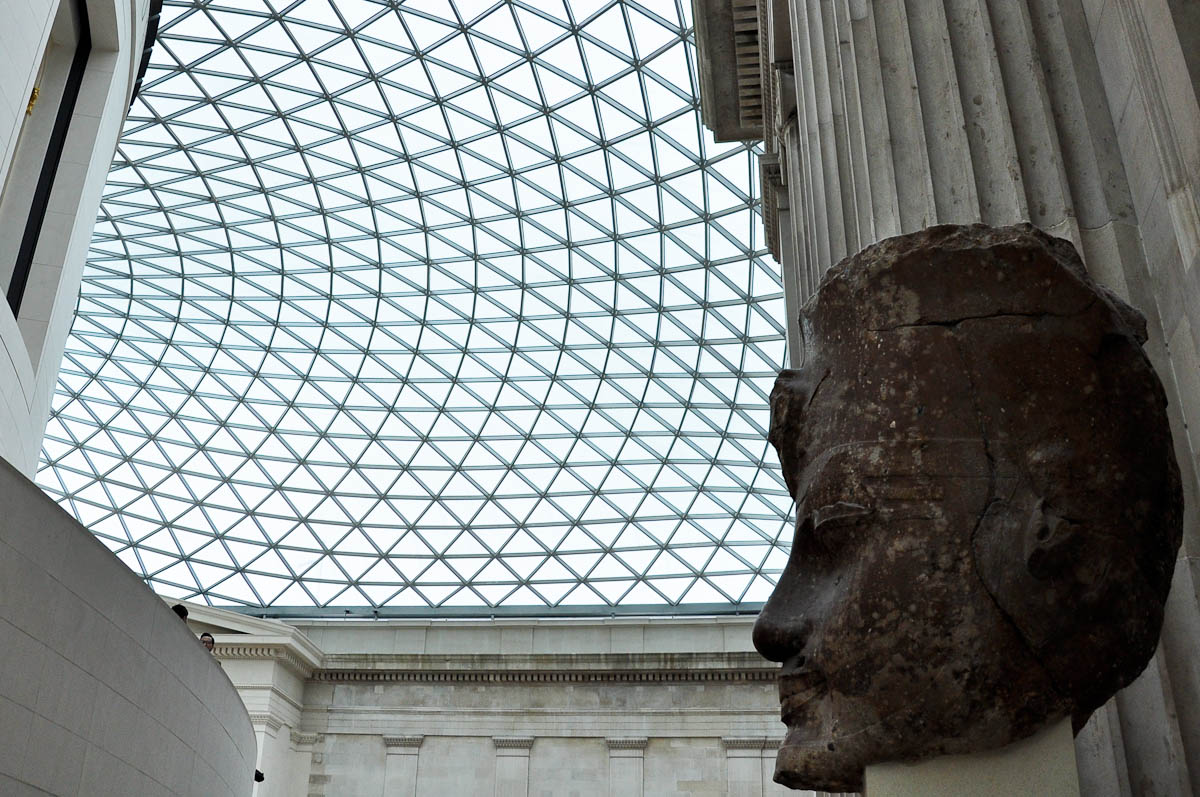 The entrance to the Egyptian section, Great Court, The British Museum, London, England