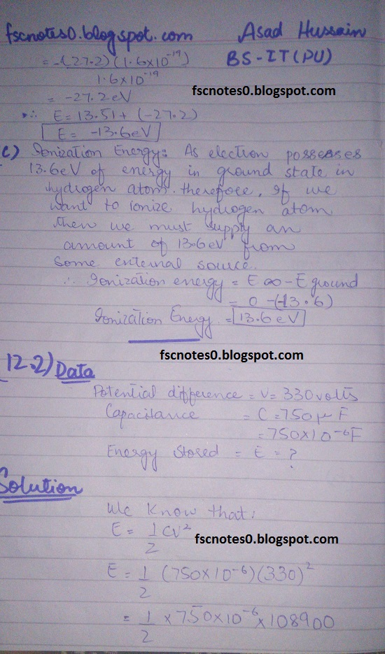 F.Sc ICS Notes: Physics XII: Chapter 12 Electrostatics Numerical Problems by Asad Hussain 13