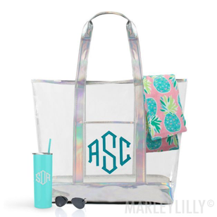 monogrammed clear beach tote with towel