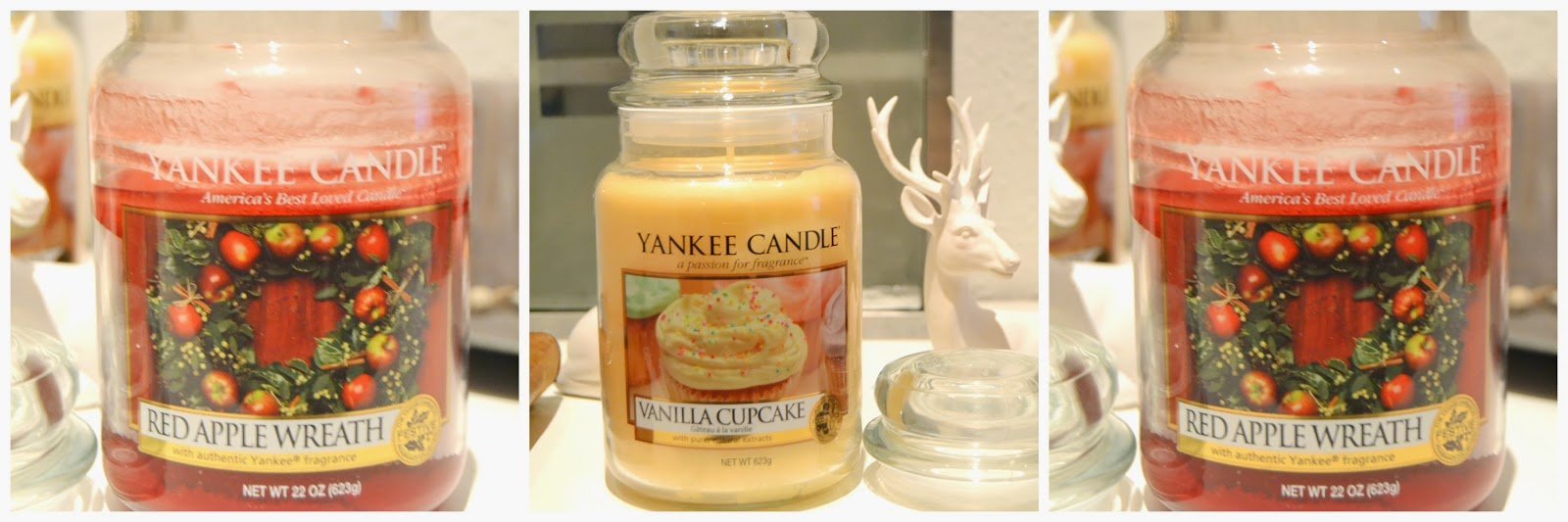 Yankee Candle Jar Red Apple Wreath Vanilla Cupcake