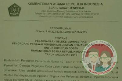 Seleksi Administrasi PPPK / P3K Kemenag 2019
