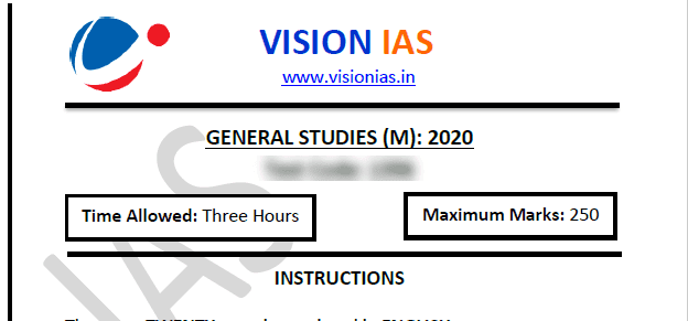 Vision IAS Test 6 with mock answer