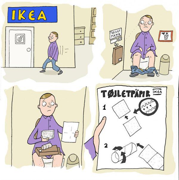 Funny IKEA Toilet Paper Cartoon Joke Picture