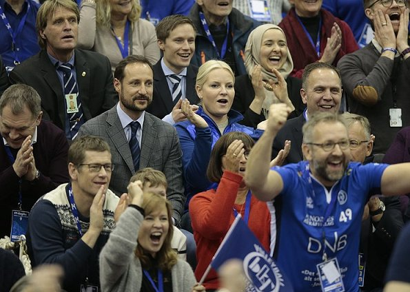 Prince Haakon and Mette Marit watched men's Volleyball Cup 2017 final match at Ekeberghallen Arena