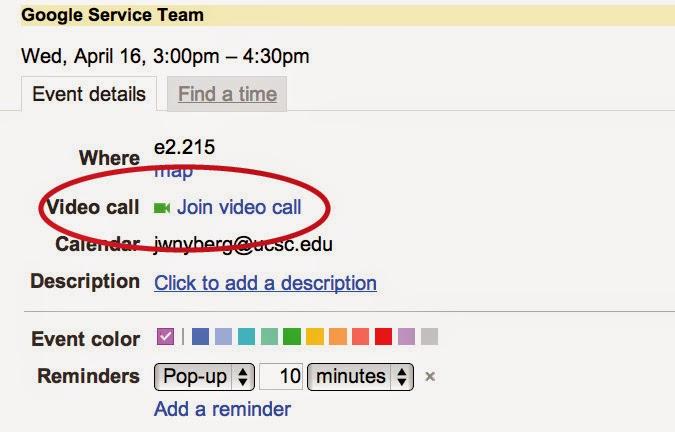 UCSC Google News: Google+ Hangouts in Google Calendar