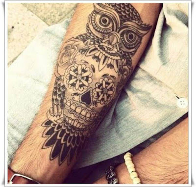 Owl Skull Tattoo Designs For Men