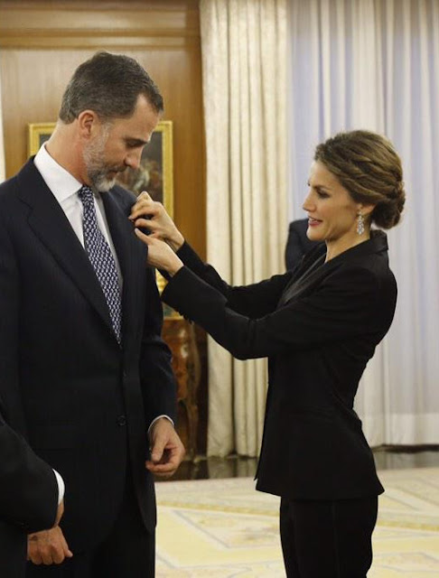 King Felipe of Spain and Queen Letizia of Spain receive an audience a representation of the attendees the 'I International Symposium