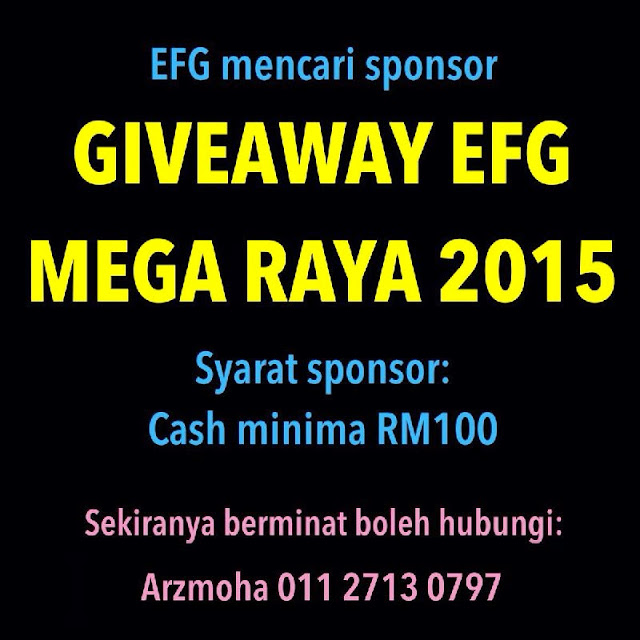 Pencarian sponsor, giveaway efg mega raya 2015, efg, exchange feed group,
