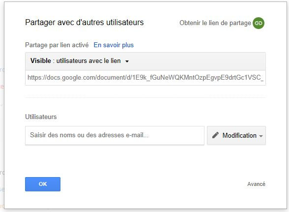 Associer GoogleDoc et QRCode