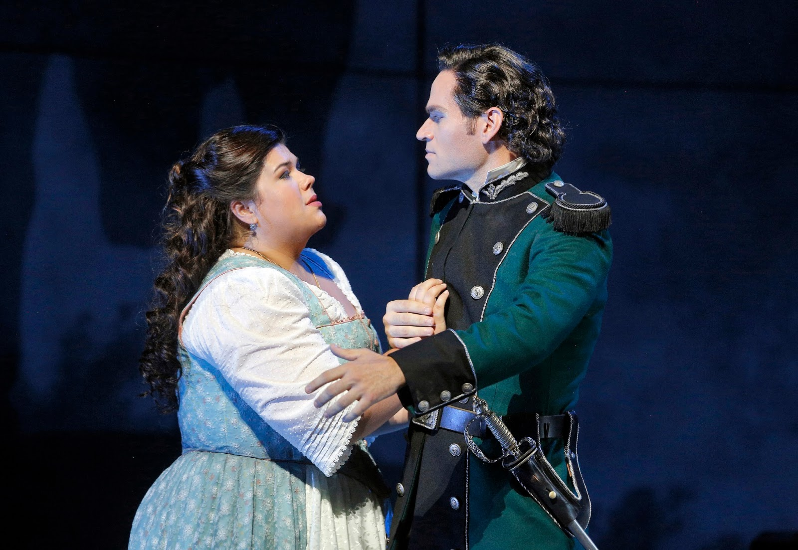 IN REVIEW: Soprano LEAH CROCETTO (left) as the titular heroine in San Francisco Opera's 2015 production of Giuseppe Verdi's LUISA MILLER, with tenor Michael Fabiano as Rodolfo [Photograph by Cory Weaver, © by San Francisco Opera]