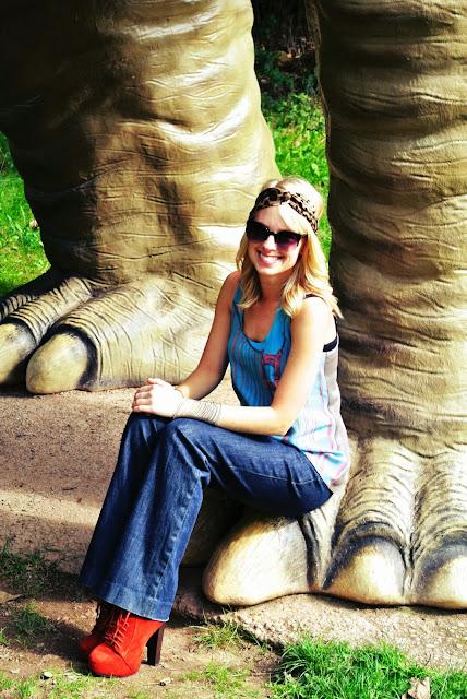Vividly Golden Gate tank, Charming Damsel cheetah/leopard turban headband, Emerson & Oliver Dia bracelets, Charlotte Russe orange ankle boots, H&M leather jacket, Banana Republic jeans, dinosaurs, travel, pumpkins, fall, autumn, fall fashion, style blogger