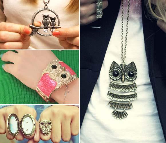 colar de coruja; anel de coruja; relógio de coruja