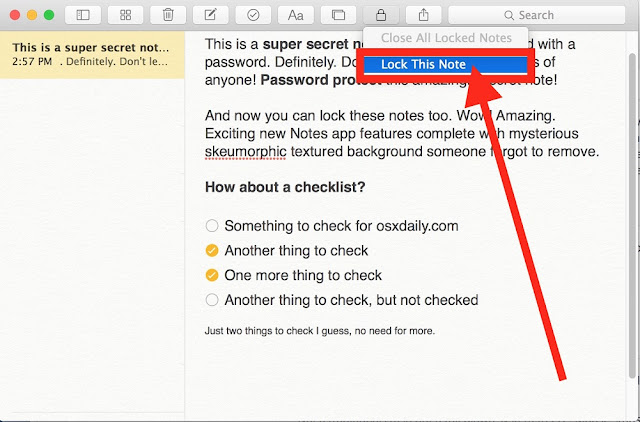 How to Lock Notes with Password Protection in Mac OS X