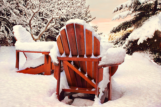 adirondack chairs, snow, winter, pender harbour, pacific northwest