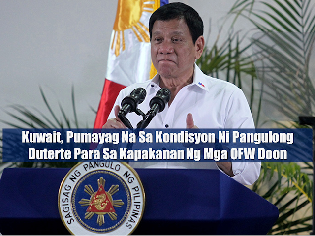 "The Kuwaiti government has agreed to the conditions President Duterte had set to improve the working and living conditions of overseas Filipino workers (OFWs) in their country.   President Duterte disclosed it during his meeting with approximately 2,000 members of the Filipino community in Hong Kong Thursday evening. He told the OFWs that he is willing to go to Kuwait at any moment for the  signing of the agreement. Advertisement        Sponsored Links        According to Duterte, the Kuwait government agreed to the conditions he wantedto include in the draft agreement that will be signed by both countries.  ""I'm going to Kuwait maybe for the signing. And I have made so many demands before we sign the contract. And in fairness to the Kuwait government, pumayag sila (they agreed to them),"" he said.  ""I think that to give honor also to the Kuwaiti government, I will go there for the signing just to witness it,"" he added.  Duterte reiterated that he wants Filipinos in Kuwait to be given a day off every week. He also said that the passports of OFWs should not be confiscated.  He also said that OFWs must be allowed to keep cellphones and use them whenever they want. Duterte said he also wants OFWs to use their cellphones to directly call him if they have complaints.  ""My number is probably Manila, 638888. That's the hotline. 8888 lang (Just 8888),""Duterte said.  Duterte also said the Kuwait government agreed to allow Filipinos to be able to cook their own food, except for pork and other food considered as haram or forbidden in Islam.  According to the President, he told Labor Secretary Silvestre Bello III to prepare, and leave the rest to God, in case the Kuwait government doesn't agree to Duterte's conditions.  ""At sinabikosa Cabinet ng meeting, mahiraplangtayo (What I said during the Cabinet meeting was we are a poor country). There's not enough for everybody. But if everything goes wrong here, we have to accept our countrymen and spend all available money paramakatulongsakanila (so we can help them),"" he said.  ""'Bahala na,'sabi ko. Magtiis tayo ('Come what may,' I said. Let's just bear with it) and maybe there's always God who thinks about equality in this planet. Tutulungan rin tayong Diyos (God will help us),"" he added.  Meeting the said conditions for the welfare of OFWs was one of Duterte's considerations before lifting the total deployment ban on new OFWs to Kuwait.  The ban on the deployment of new OFWs to the gulf state was imposed following the death of Joanna Demafelis, who was reportedly beaten to death by her Syrian and Lebanese employers. She was found dead, stuffed inside a freezer in an abandoned apartment unit, after more than a year of being presumed missing.  Duterte has fumed over the death of Demafelis and slammed the Kuwaiti government for being ""oblivious"" about the abuses and maltreatment OFWs are experiencing from their employers in their territory, saying the Philippines did not do Kuwait anything wrong.  The death of Demafelis prompted Duterte to implement a total deployment ban of new OFWs to Kuwait and to order the DOLE to facilitate the repatriation of all OFWs who want to go home within 72 hours.  The President also revealed that the government is now performing an audit on countries where OFWs are reportedly experiencing ""brutal treatment and human degradation"" from their employers.   READ MORE:  Classic Room Mates You Probably Living With   Do Not Be Fooled By Your Recruitment Agencies, Know Your  Correct Fees  Remittance Fees To Be Imposed On Kuwait Expats Expected To Bring $230 Million Income    TESDA Provides Training For Returning OFWs   Cash Aid To Be Given To Displaced OFWs From Kuwait—OWWA      Former OFW In Dubai Now Earning P25K A Week From Her Business    Top Search Engines In The Philippines For Finding Jobs Abroad    5 Signs A Person Is Going To Be Poor And 5 Signs You Are Going To Be Rich"