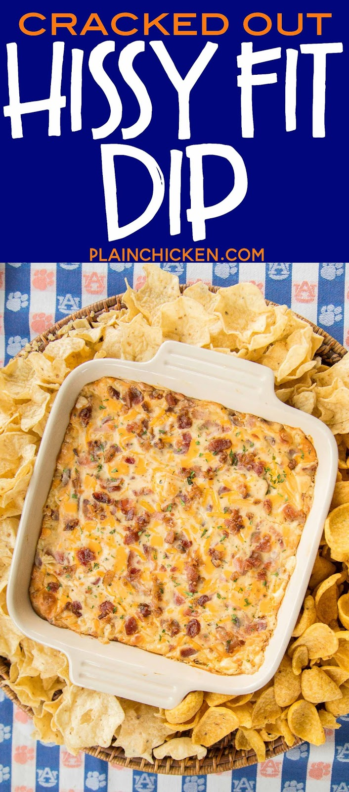 Cracked Out Hissy Fit Dip Recipe - cheddar, bacon, ranch, sour cream, Velveeta, Worcestershire sauce - SO good. You will definitely throw a hissy fit if you miss out on this dip! Crazy good! Can mix together and refrigerate a day before baking. Serve with chips and veggies! It is always gone in a flash!