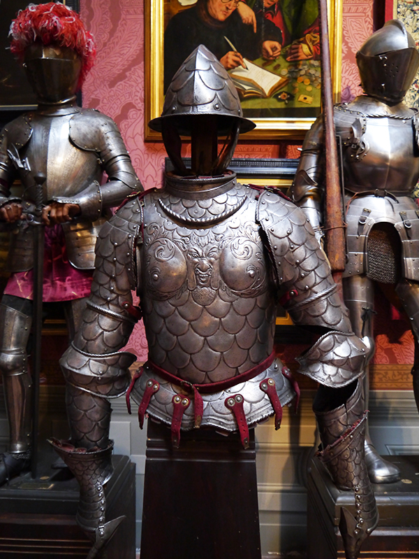 3 suits of armour side by side at the Stibbert Museum in Florence, Italy