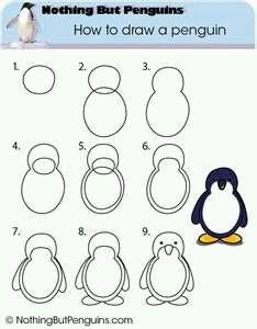Cara menggambar hewan pinguin