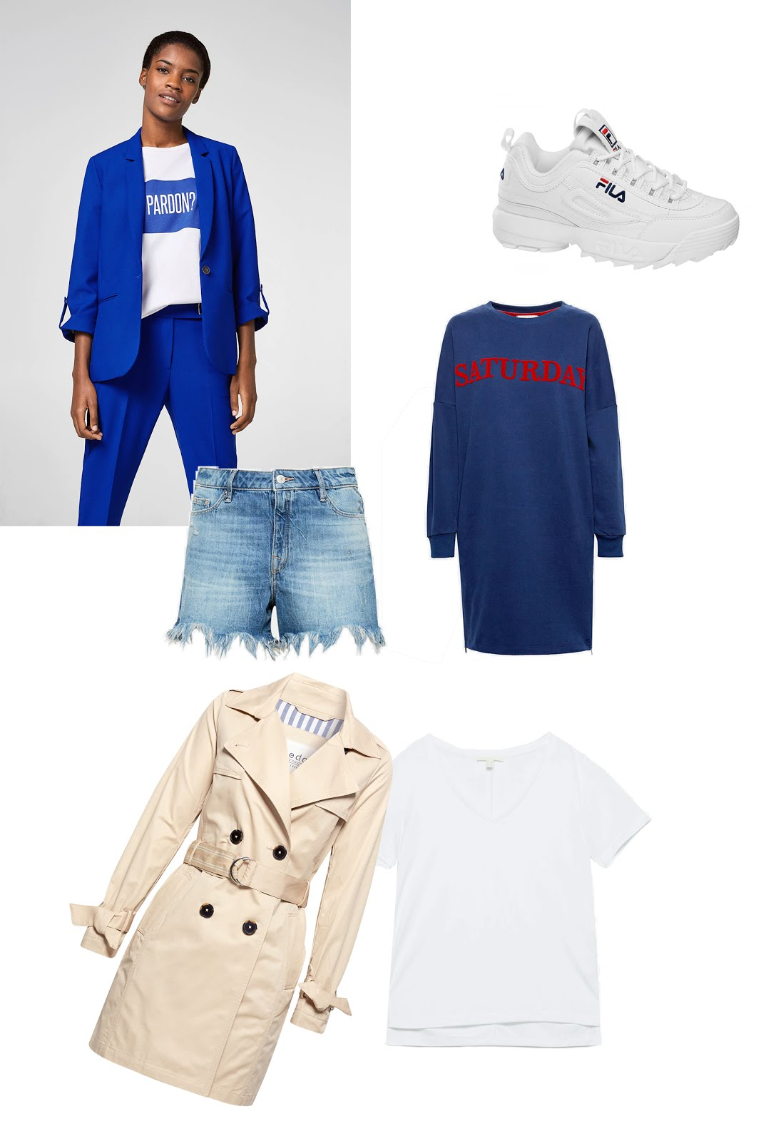 Esprit, spring, summer, SS18, trends, trench coat, cobalt blue, suit, fila disruptor, sweater dress, jeans shorts
