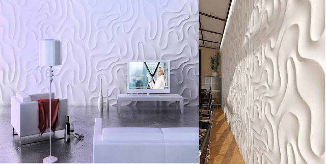 gypsum wall panels with 3d art effect