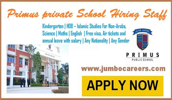 Teaching staff job vacancies in Dubai, Latest UAE jobs with benefits and salary,