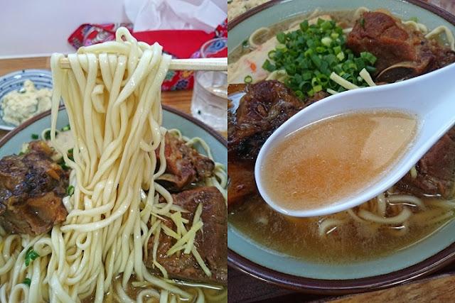 ソーキそば(大盛)の麺とスープの写真
