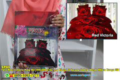 Fata Red Victoria King B2 160×200 2 Sarung Bantal 2 Sarung Guling Merah Hitam Bunga 3D Dewasa Poly TC