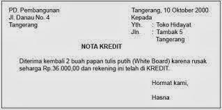 contoh Nota kredit sebagai salah satu bentuk bukti transaksi keuangan