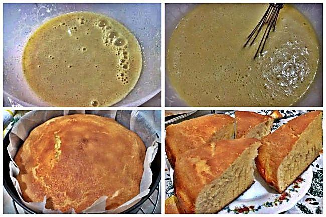 Preparación del bizcocho sin gluten de chocolate blanco
