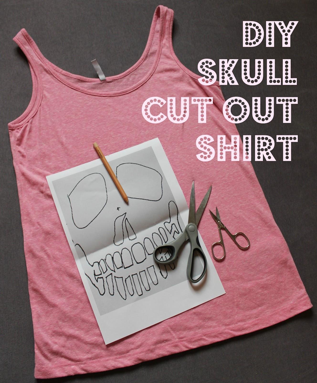 Diy Skull Cut Out Shirt