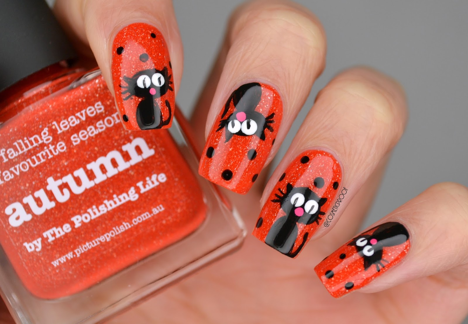 Nails happy halloween from hemingway manimonday cosmetic halloween black cat nail art prinsesfo Images
