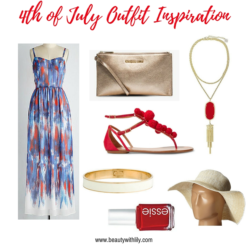 July 4th Outfit Ideas | Red, White & Blue Maxi with Gold Accessories