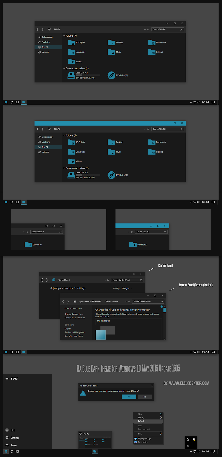 Na Blue Dark Theme Windows10 May 2019 Update 1903