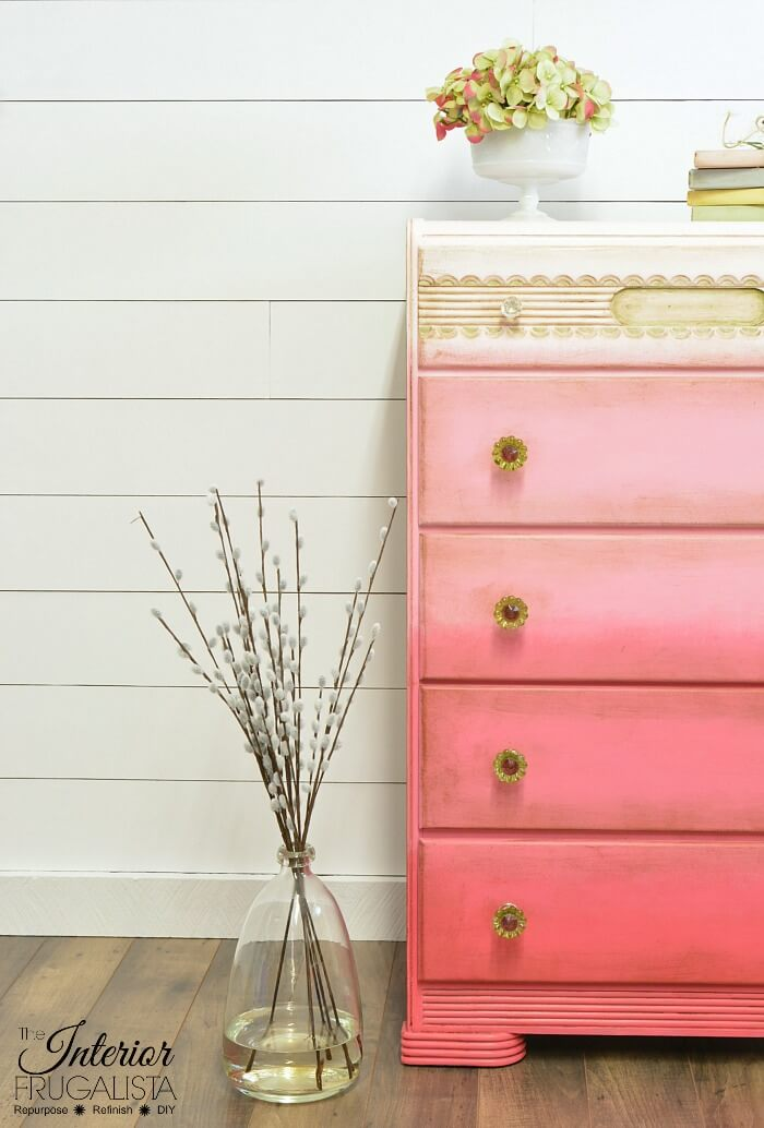 Pink Ombre Waterfall Dresser Left