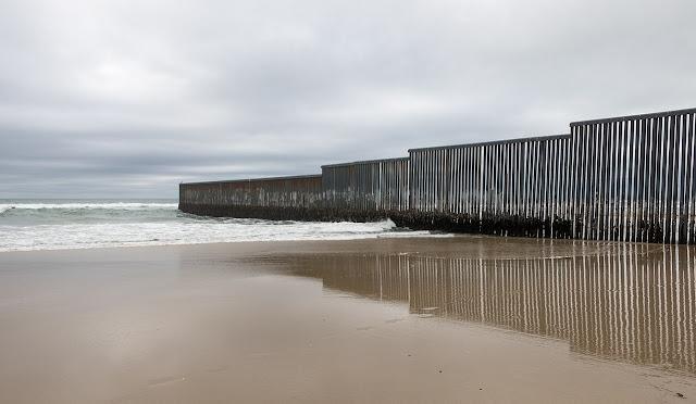 U.S. Mexico Border at Pacific Ocean