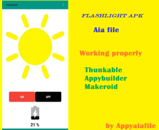 Flashlight Apk Aia File For Thunkable , appybuilder and App inventor