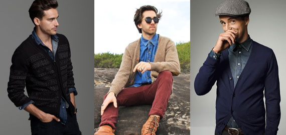Look Masculino com Cardigan e Camisa Jeans