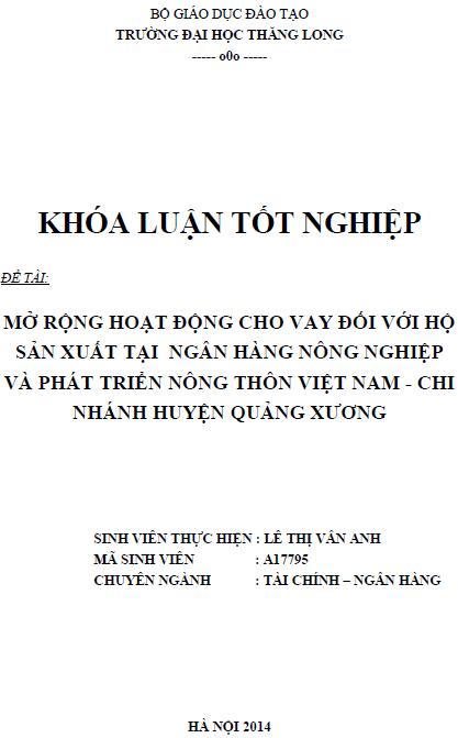 Mở rộng hoạt động cho vay đối với hộ sản xuất tại ngân hàng nông nghiệp và phát triển nông thôn Việt Nam Chi nhánh huyện Quảng Xương
