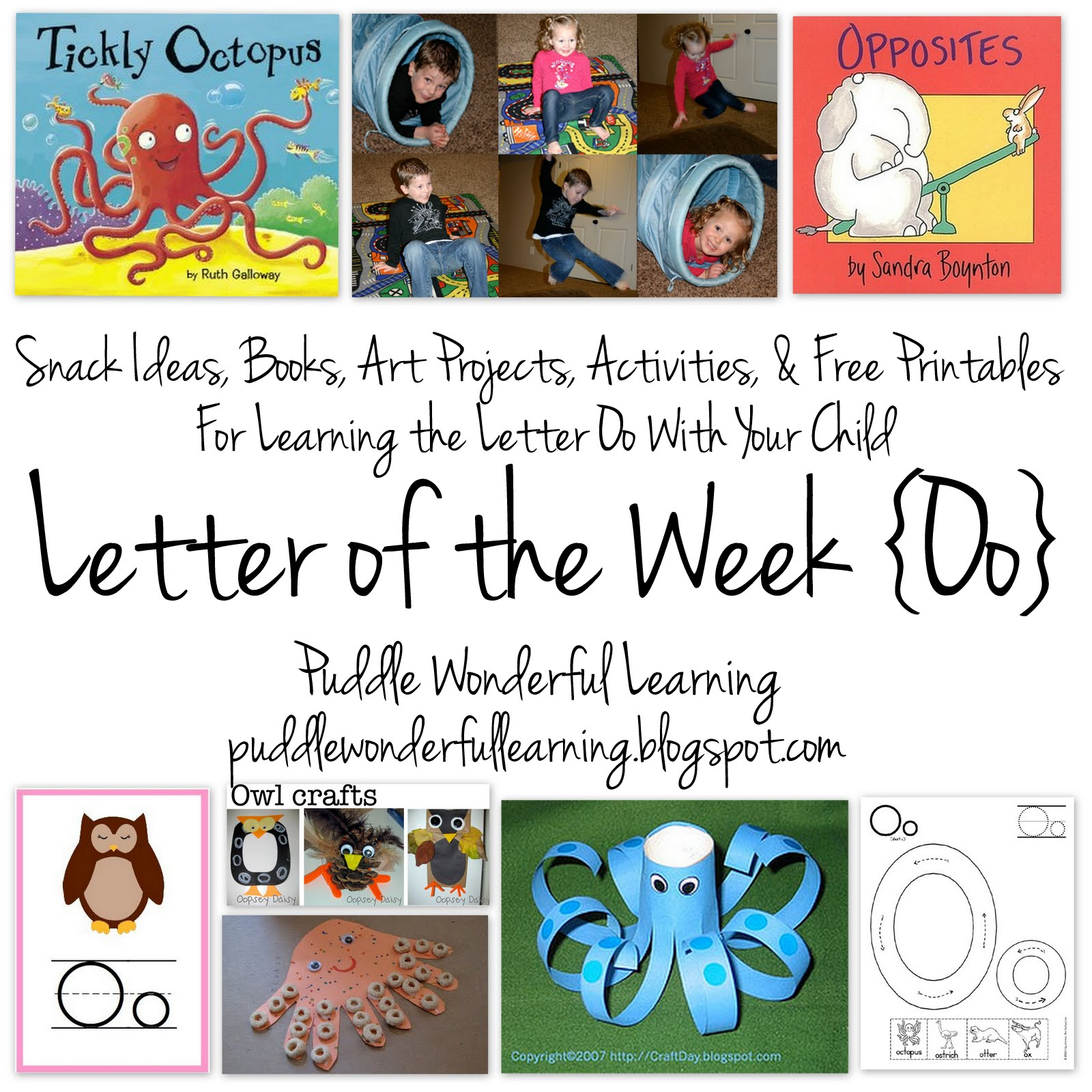 Puddle Wonderful Learning Preschool Activities Letter Of The Week Oo