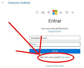 Como faço uma conta de email Hotmail no Tablet ?