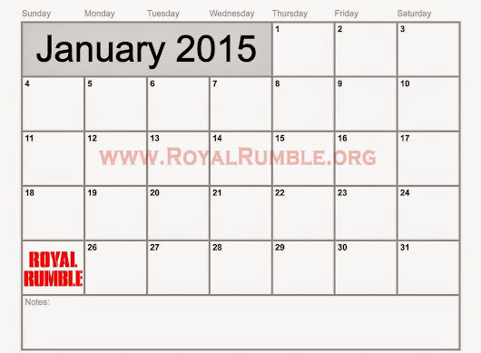 Royal Rumble 2015 date and Schedule