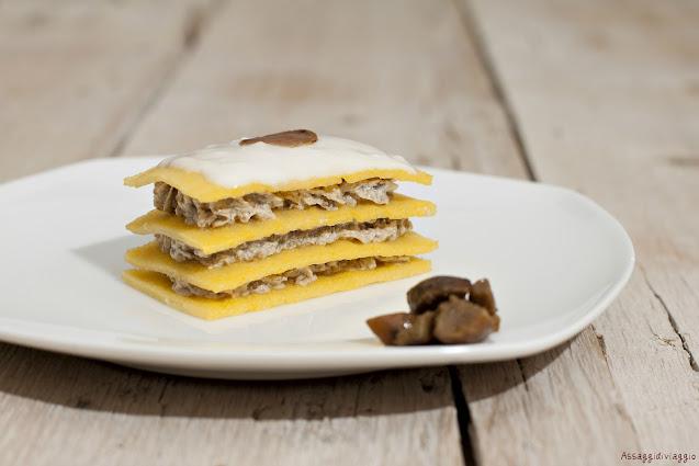 Cialde di polenta alla crema di funghi