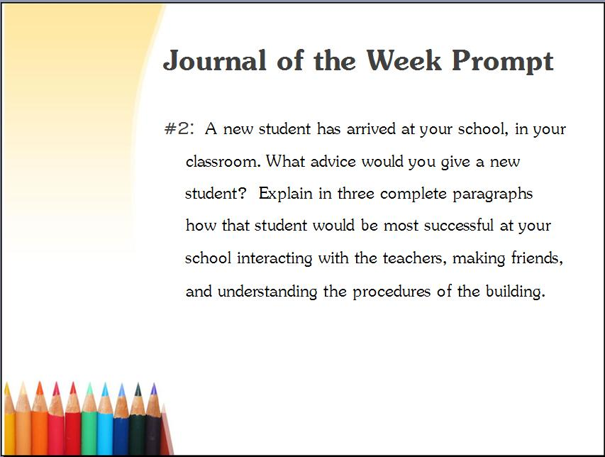 Journal writing prompts high school students