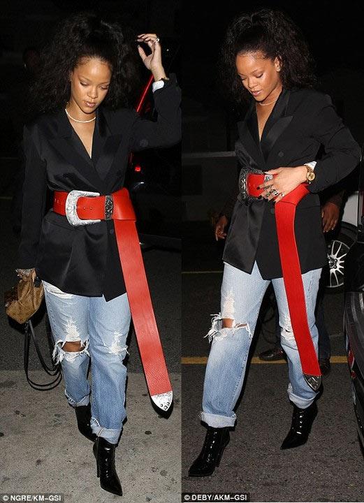 Cool or trashy? Rihanna steps out wearing gigantic belt