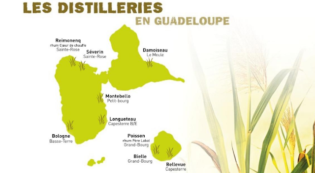 Carte de Guadeloupe, Marie Galante et les distilleries