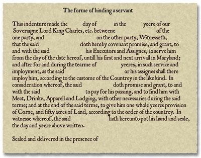 Jamestown  |Indentured Servants From England