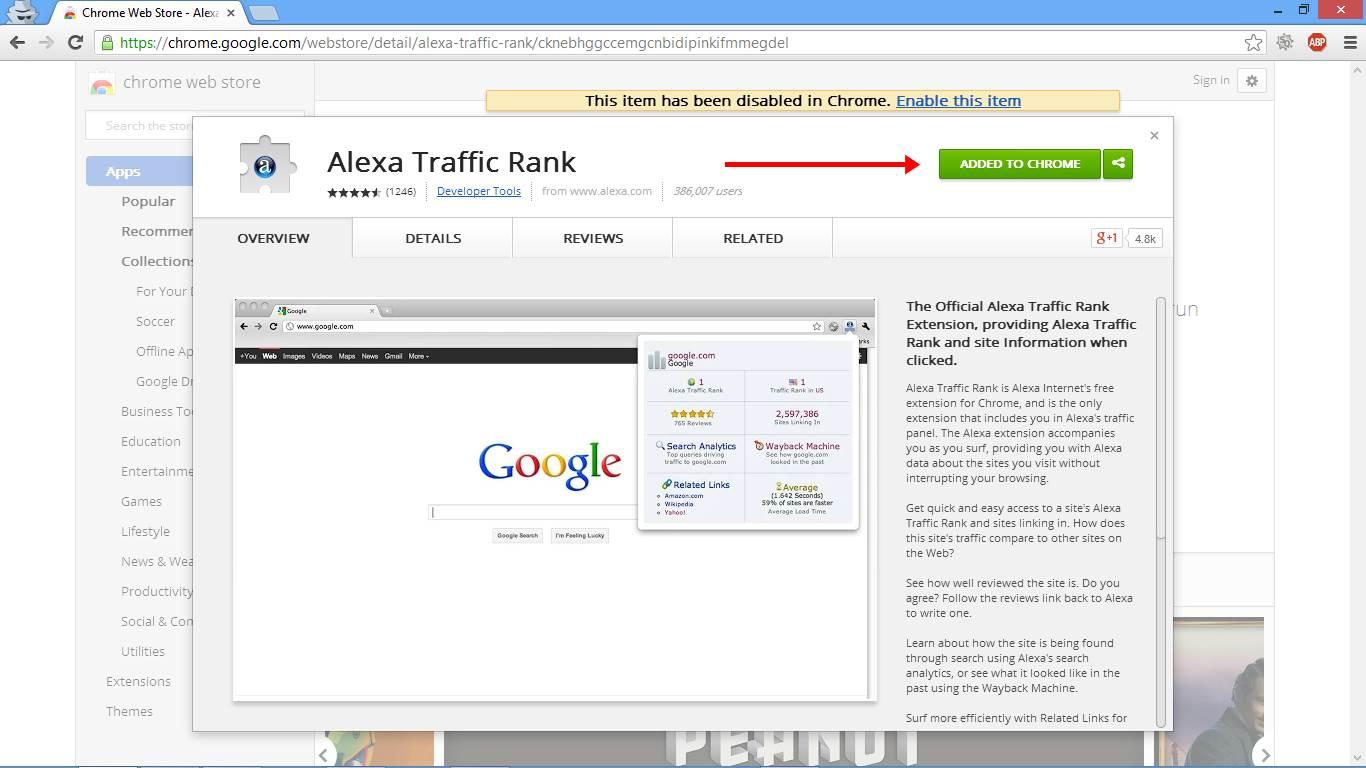 Cara Memasang Alexa Toolbar di Chrome gambar 2