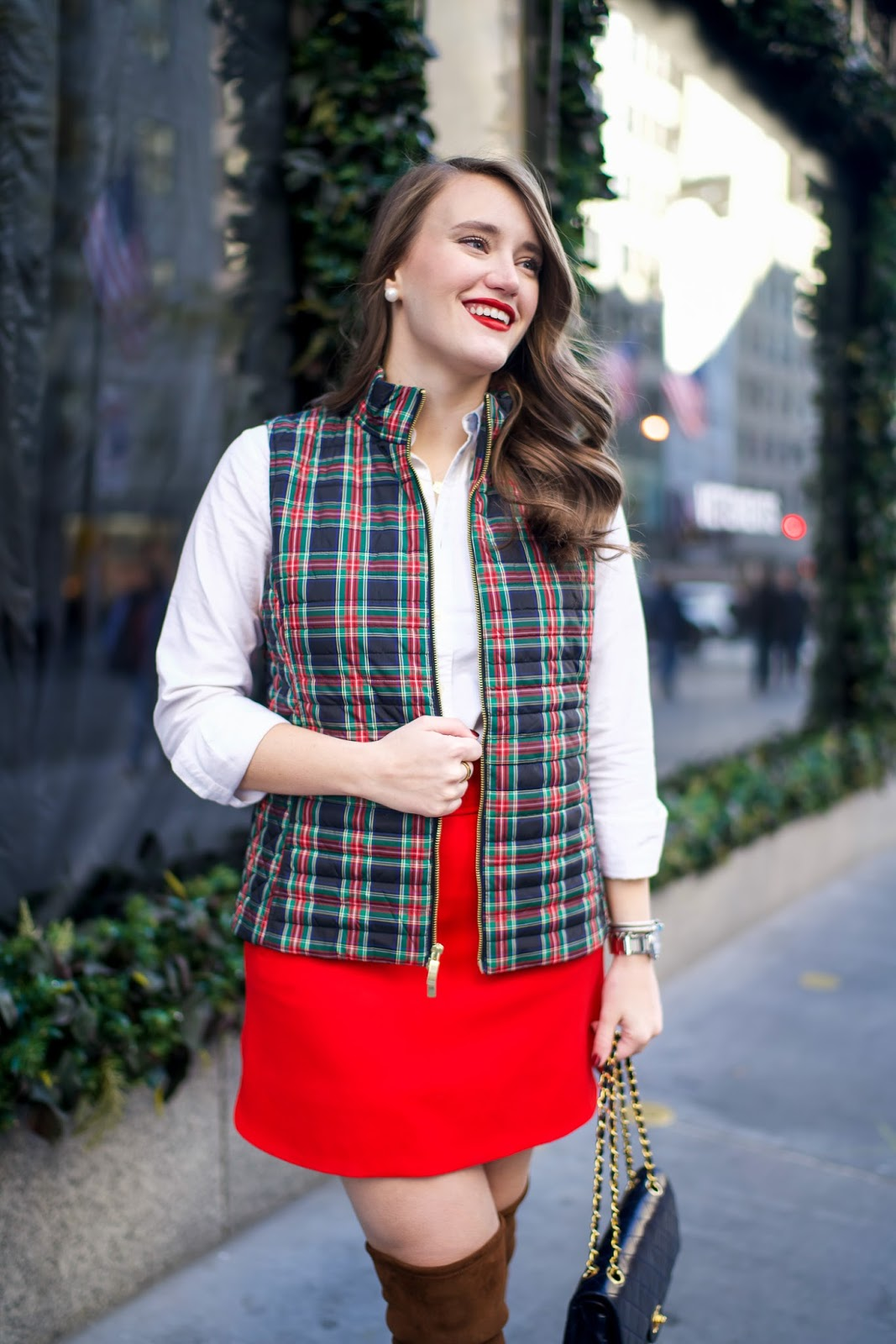 red skirts, plaid vests